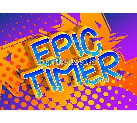 epic timer comic book style cartoon