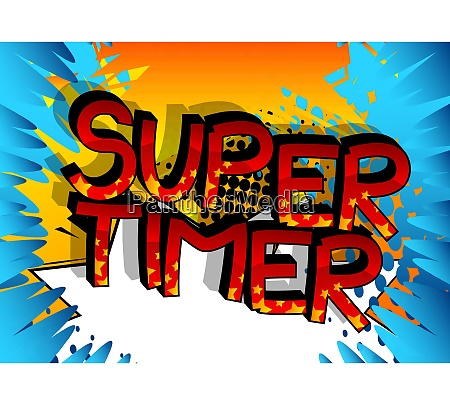super timer comic book style cartoon