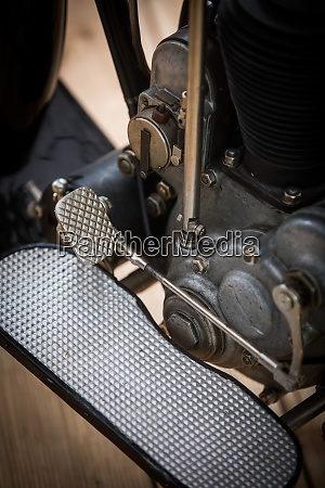 vintage motorcycle footrest and bake pedal