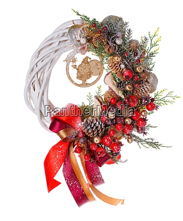 traditional christmas wreath isolated on white