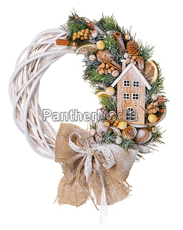 composition with decoration christmas wreath on