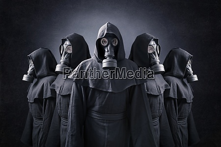 group of five scary figures with