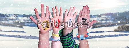 children hands building word quiz snowy