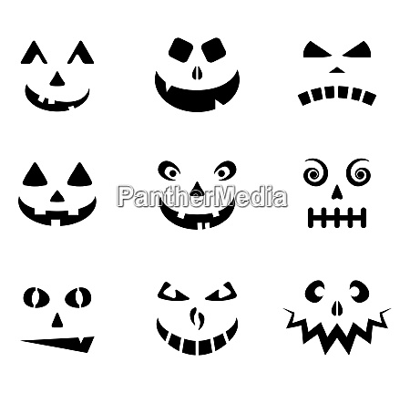 halloween carved faces silhouettes collection jack