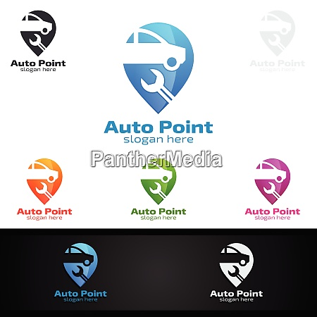 car service logo with car and