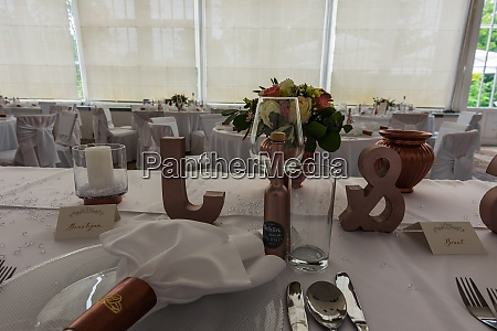 bride and groom at a table