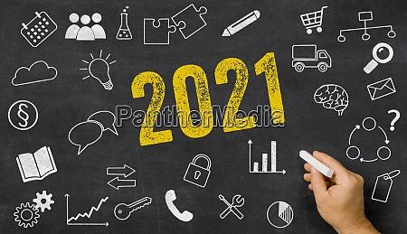 2021 written on a blackboard with