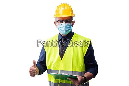engineer at work protects the face