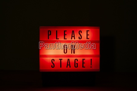 please on stage sign