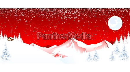mountain landscape winter night christmas