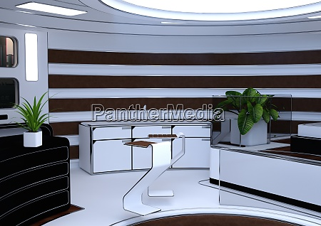 3d rendering science fiction apartment