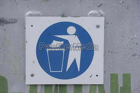 garbage sign for waste disposal