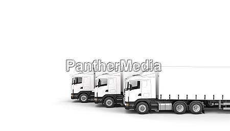 transport trucks isolated on white