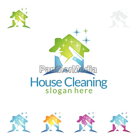 house cleaning vector logo design eco
