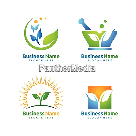 natural green tree logo with ecology