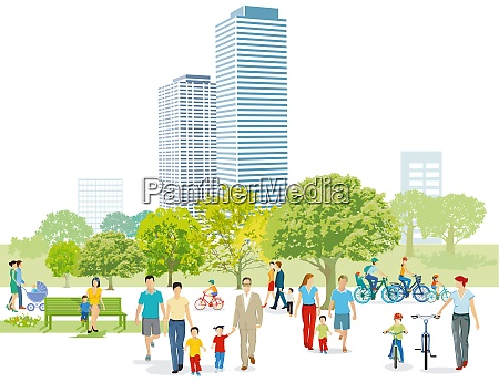 families and pedestrians in the park