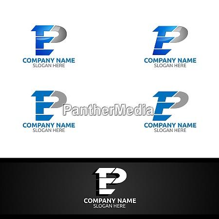 letter e p for digital vector