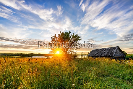 colorful sunset in a countryside