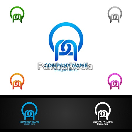 letter p for digital logo marketing