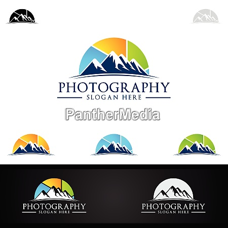 mountain camera photography logo icon vector