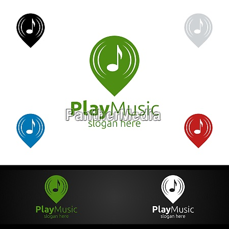 abstract music logo with pin and