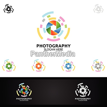 abstract camera photography logo icon vector