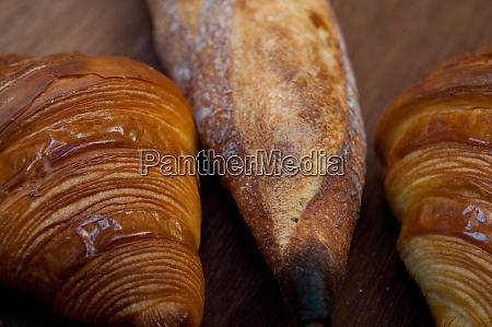 french fresh croissants and artisan baguette