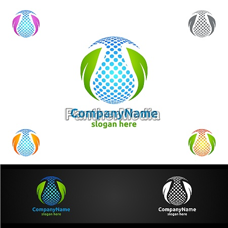 water and leaf vector logo for