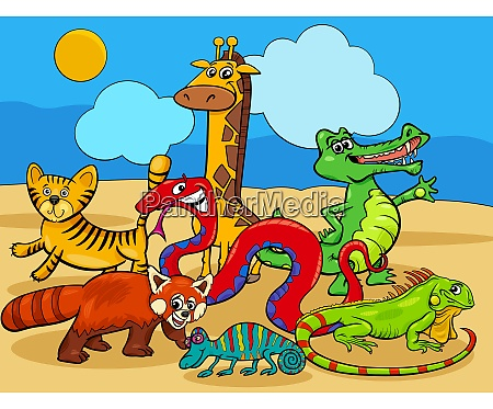 wild animals cartoon characters group