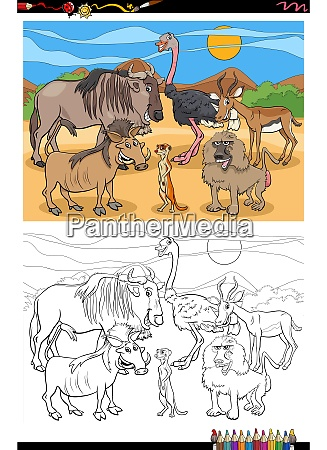 cartoon funny animals group coloring book