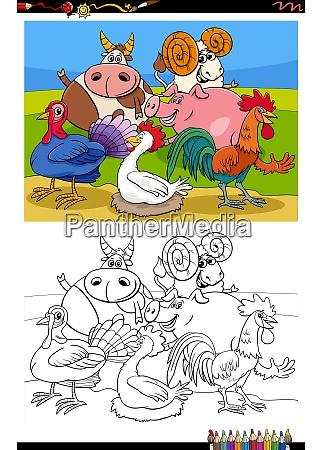 farm animals group cartoon illustration coloring