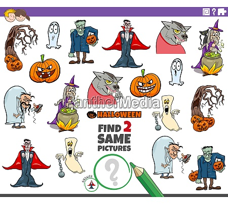 find two same halloween characters educational