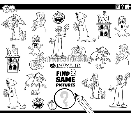 find two same halloween characters task