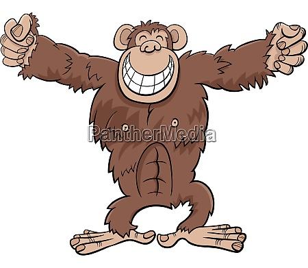 gorilla ape wild animal cartoon illustration