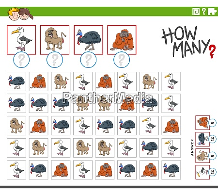 how many animal characters counting game