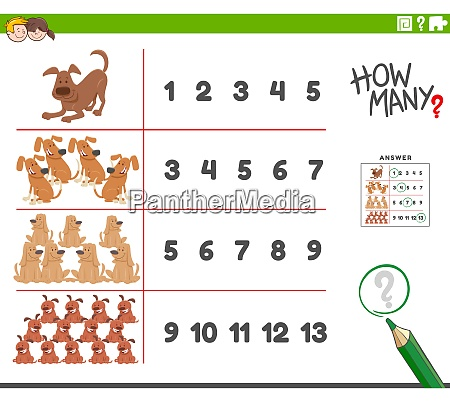 counting activity with cartoon dogs animal