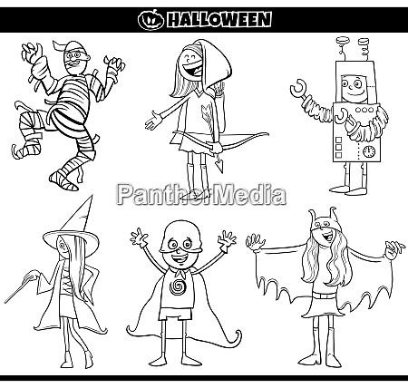 kids in halloween costumes set cartoon