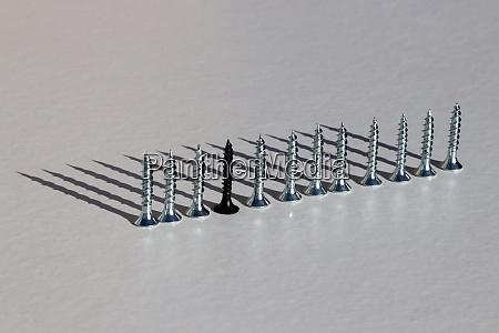one black screw in a line