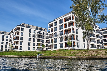 modern apartment buildings at the river