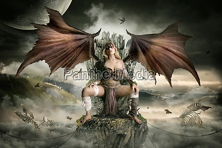 dragon queen in her throne