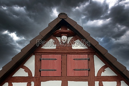 half timbered house facade roof gable