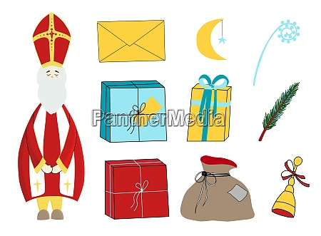 saint nicholas character isolated on white