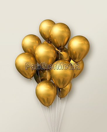 gold air balloons group on a