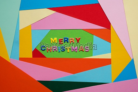 colorful letters building text merry christmas