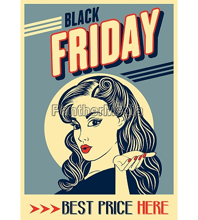 black friday banner with pin up