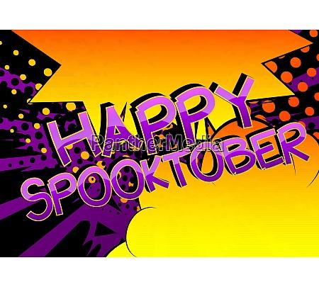 happy spooktober comic book style cartoon