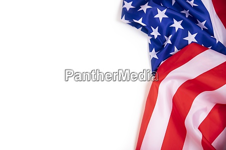 closeup of american flag with copy