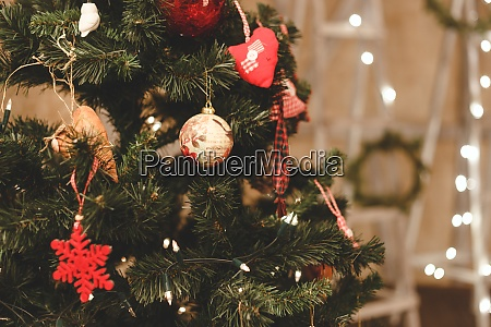 christmas tree decorated by balls new