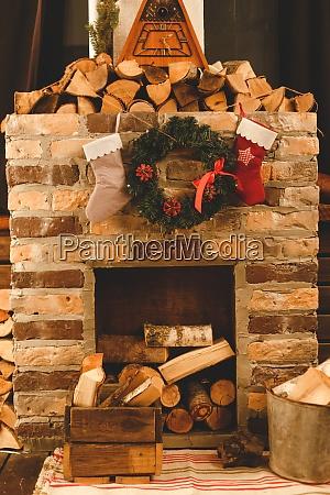 christmas socks hanging on the fireplace