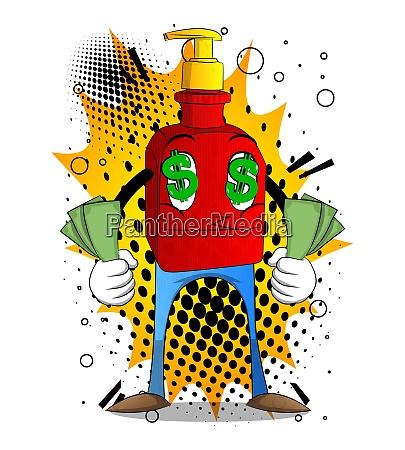 bottle of hand sanitizer gel holding